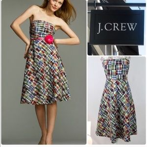 J Crew Plaid Strapless Dress